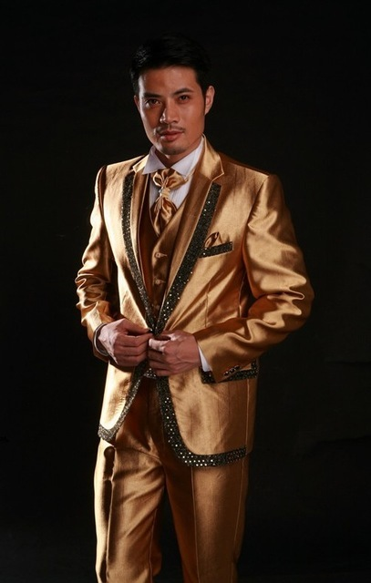 Classic Style One Button Shiny Groom Tuxedos Groomsmen Mens Wedding Suits Prom Dress (Jacket+Pants+Vest+Tie) NO:245