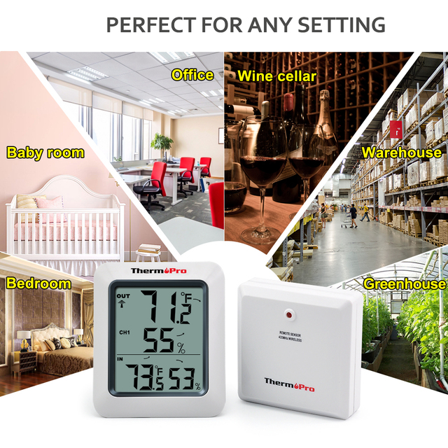 ThermoPro TP60 60M Wireless Digital Hygrometer Indoor Outdoor Thermometer Humidity Monitor with Temperature Gauge Humidity Meter