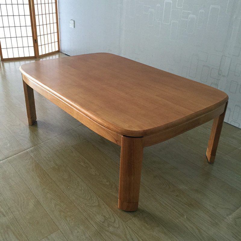 Japanese Kotatsu Coffee Table Rectangle 120cm Natural Finish Living Room Furniture Foot Warmer Heated Low Floor Table Wooden