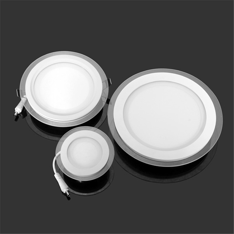 Glass 6W 12W 18W LED Panel Downlight Round Recessed Ceiling Spot Light AC85-265V Driver Included Warm/Natural/Cold White