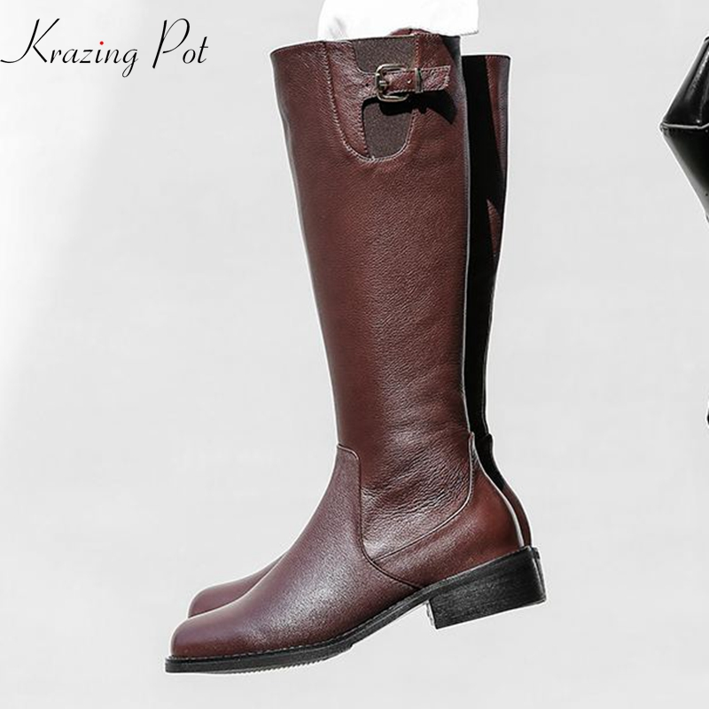 Krazing Pot 2019 genuine leather women round toe med heels zipper metal buckle streetwear gentlewomen riding