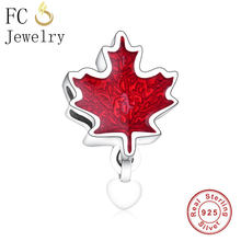 FC Jewelry Fit Original Pandora Charm Bracelet 925 Sterling Silver Canada Flag Red Enamel Love Heart Beads Making Berloque 2019(China)