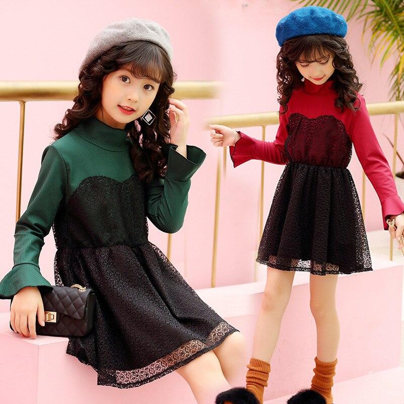 เสื้อผ้าเด็กเกาหลีฤดูใบไม้ร่วง2017สินค้าใหม่สาวเด็กอารมณ์หลุมบาร์ลูกไม้ชุดเจ้าหญิง