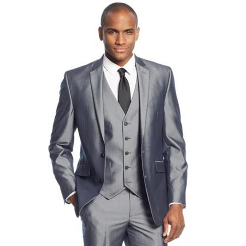 Online Shop Silver Grey 3 Pieces Mens Suits Two Buttons Wedding ...