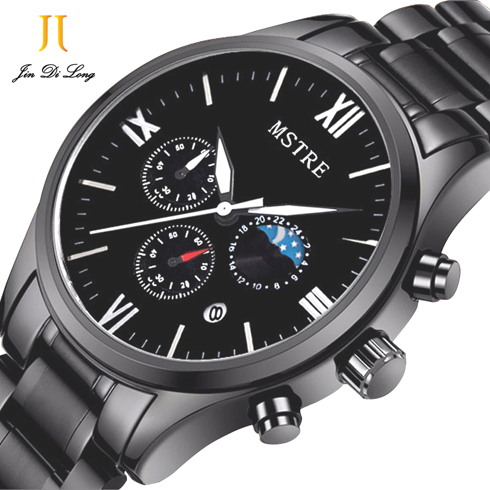 Brand MSTRE Fashion Casual Business Watch Mens Quartz Stainless Steel Black Wrist Watches Chronograph Moon Phase Waterproof 100M