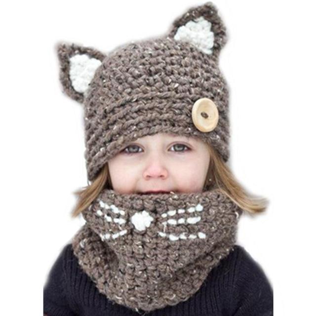 Invierno Caliente grueso knit Beanie sombreros Bufandas set niños 2017  lindo gato orejas sombrero + bufanda 0dfeba64649