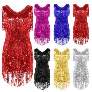 Image 2 - TiaoBug Women Ladies V Neck Sleeveless Sparkling Sequin Tassels Fringe Ballroom Samba Tango Stage Latin Dance Dress Rave Costume