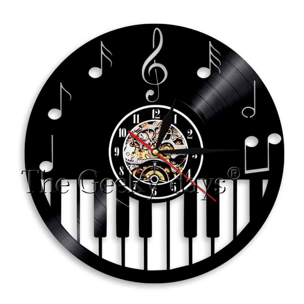 US $15 96 16% OFF|1Piece Piano Keyboard Vinyl Record Wall Clock Piano Notes  Wall Clock Timepiece Time Clock Music Major Teacher Student Gift-in Wall