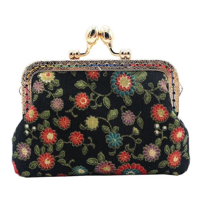 2017 Women Lady Retro Vintage Flower Small Wallet Hasp Cotton Fabric Coin Purse Clutch Bag Floral mini bag Size: 12*9*3 cm