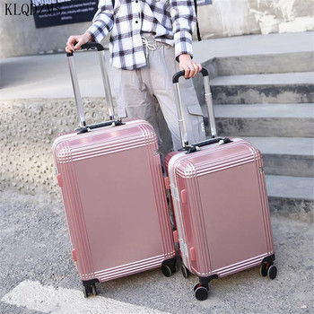 KLQDZMS High Quality 24Inch ABS+PC Rolling Luggage Spinner 20 inch Cabin Suitcase Wheels TrolleyTravel Bag