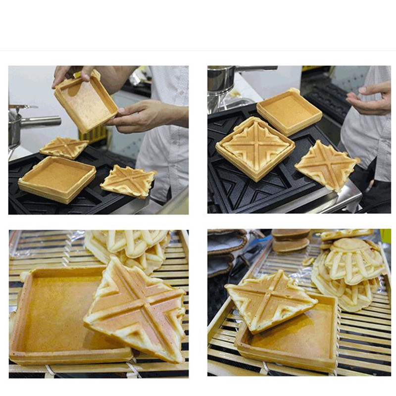 110V 220V Commercial Non-stick 2pcs Jam Waffle Maker Machine Electric Sandwich Waffle Baker Iron Baker Machine EU/AU/UK/US Plug 110v 220v electric belgian liege waffle baker maker machine iron page 7
