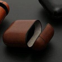 Funda de cuero con gancho para AirPods Vintage mate para iPhone Apple Airpods bolsa de almacenamiento protectora de lujo negro marrón Envío Directo