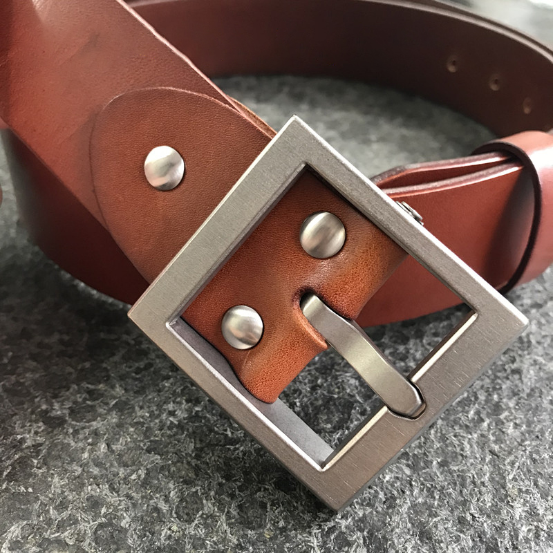 38 Mm Tan Leather Standard+ Hypoallergenic Detachable Titanium Belt Buckle