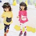 Мода хлопок полный детская одежда мультфильм cat печати мягкие Случайные девушки одежда устанавливает о-образным вырезом рубашки брюки детская одежда