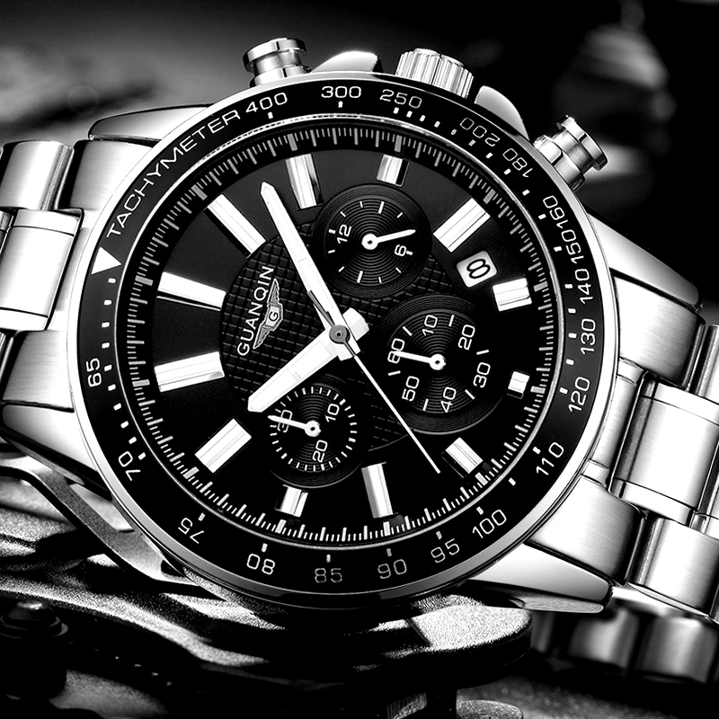relogio masculino GUANQIN Mens Watches Top Brand Luxury Business Stainless Steel Quartz Watch Men Sport Waterproof Wristwatch