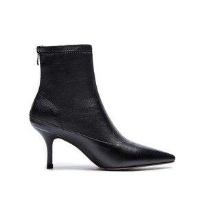 Image 3 - Ince tasarım hakiki deri avrupa tarzı yüksek topuklu ince oxford sivri burun fermuar beyaz siyah renk orta buzağı çizmeler l27