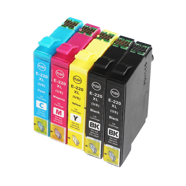 5PK, T220 T220XL Ink Cartridges For Epson 220 220XL T2201