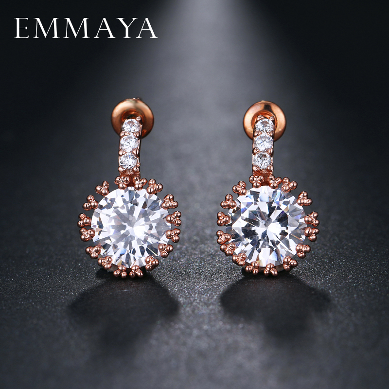 EMMAYA Fashion Style Cubic Zirconia Wedding Stud Earrings Rose Gold Color Brand CZ Stone Jewelry Wholesale For Women