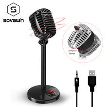 Retro HD Studio 3,5mm USB Gaming condensador micrófono red Audio Karaoke micrófono grabación profesional micrófono de escritorio