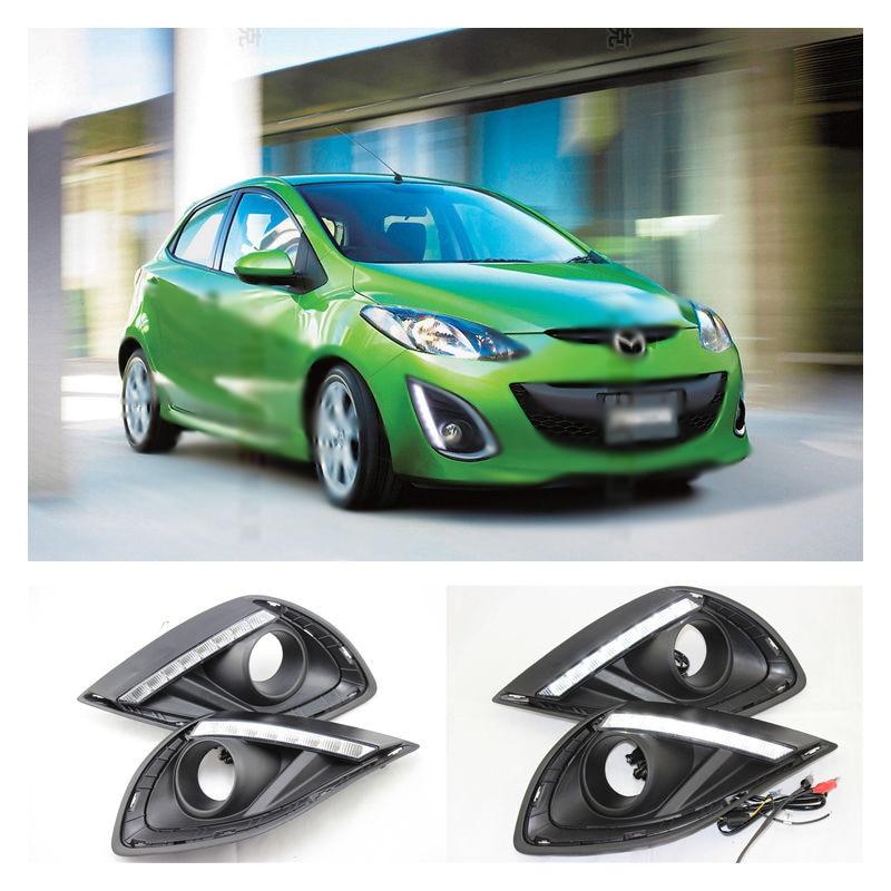 Car LED DRL Daytime Running Light For Mazda 2 M2 LED DRL Lamp 2011 2012 2013 2014