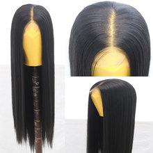 Bombshell włosy syntetyczne koronkowa peruka na przód długie proste włókno termoodporne włosy naturalną linią włosów środkowe rozstanie dla kobiet peruki