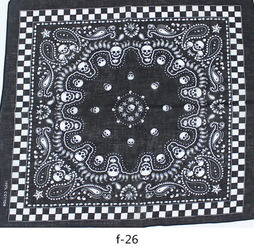 100% Cotton Punk Hip Hop Skull Black Paisley Bandana Headwear/Hair Band Scarf Neck Wrist Wrap Band Headtie For Women/Mens