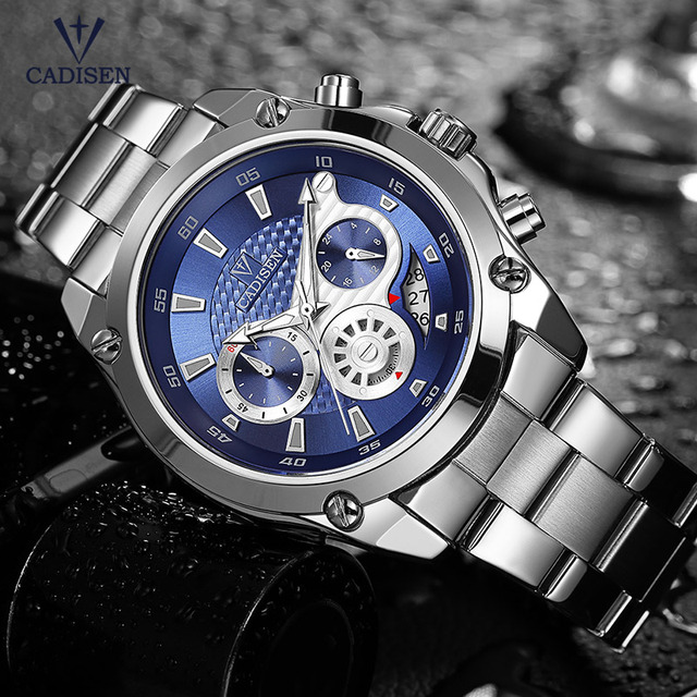 Cadisen Mode Chronograaf Quartz Horloges voor Mannen Man Zakelijke 24 hour Analoog Horloge met Rvs Band 9053G 2