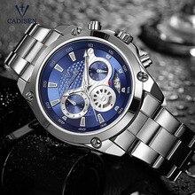 Cadisen mode chronographe montres à Quartz pour hommes daffaires 24 heures montre bracelet analogique avec bande en acier inoxydable 9053G 2