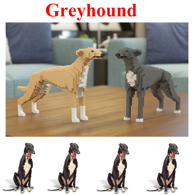 Jekca Stacking Blocks Greyhound Assembled Toy Diy Model Dog Child