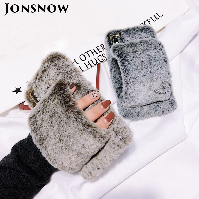 JONSNOW For iPhone 7 8 Hairy Warm Phone Cover for iPhone X XR 6S 7P 8 Plus Plush Hand Warmer Soft Case for iPhone XS Max Fundas