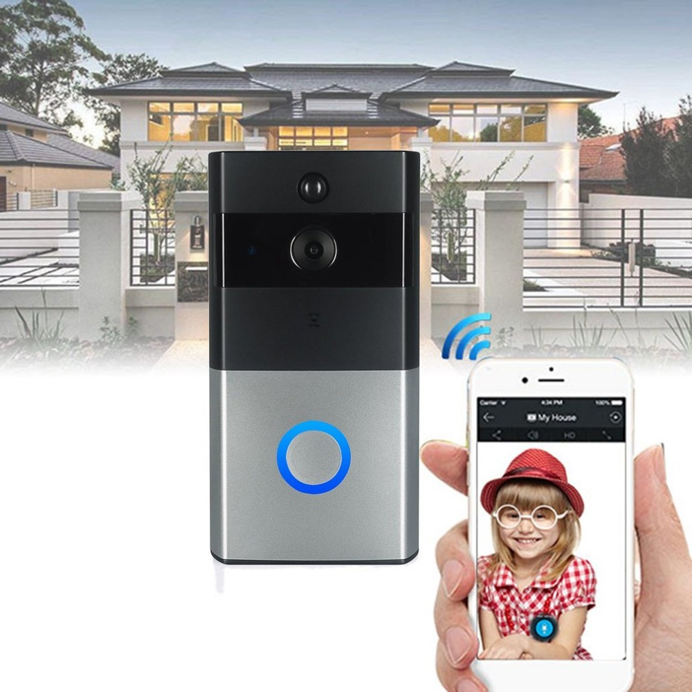 LESHP Wifi Video Doorbell Wireless 1.0MP HD Camera Night Vision Two-way Audio Intercom Waterproof PIR Motion Detection Doorbell kinco wifi remote control night vision video doorbell hd waterproof dtmf motion detection alarm smart home for smartphone