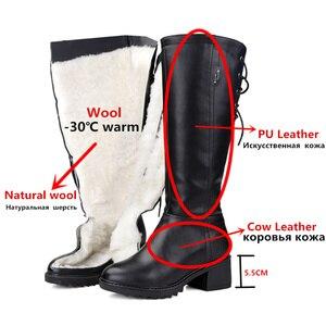 Image 5 - MORAZORA bottes de neige pour femmes, en cuir véritable, bottines hautes, chaudes et naturelles, bout rond, hiver, 2020