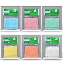 100Pcs/Lot Soft Plastic Double-headed Brush Stick Floss Pick Toothpick Oral Care 6.3cm