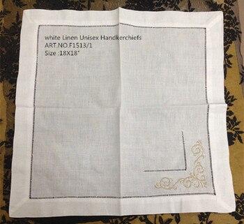 Mouchoirs en lin blanc unisexe à la mode | 12 pièces/lot, 18x 18, nouvelle collection, mouchoirs couleur brodée, pour Occasions spéciales