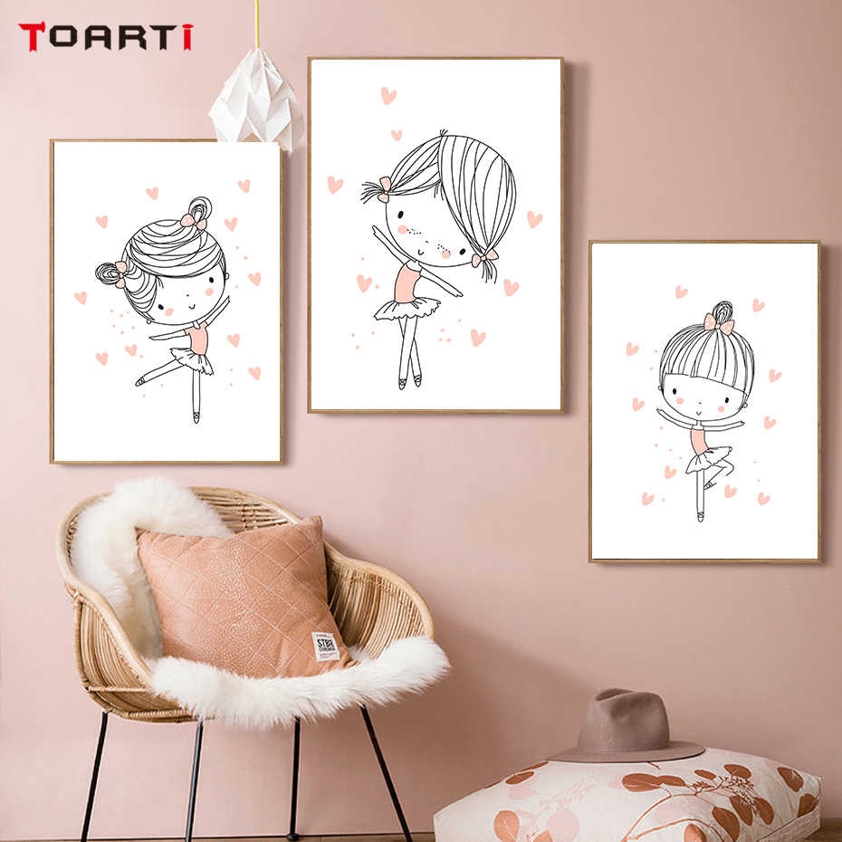 Ballet Dancer Girls Wall Art love Heart Pink Theme Painting Cartoon Nursery Poster Girls Room Decoration Pictures Christmas Gift