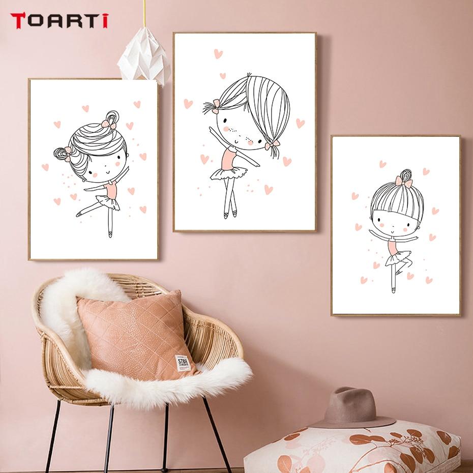 Ballet Dancer Girls Wall Art Love Heart Pink Theme Painting Cartoon Nursery Poster Girls Room Decoration Pictures Christmas Gift