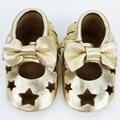 Niña bebé menor genuino mocasines de cuero infantil barba 5 estrella bigote primer caminante zapatos de suela suave 0 - 2 T