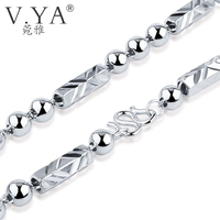 V YA 100 925 Sterling Silver Ingot Chain Necklaces For Women Men 7MM Beads Chain Real