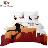 3/4Pcs Basketball Bedding Set Duvet Cover Flat Sheet with Two Pillowcases Customize Boy Bed Cover Twin Full