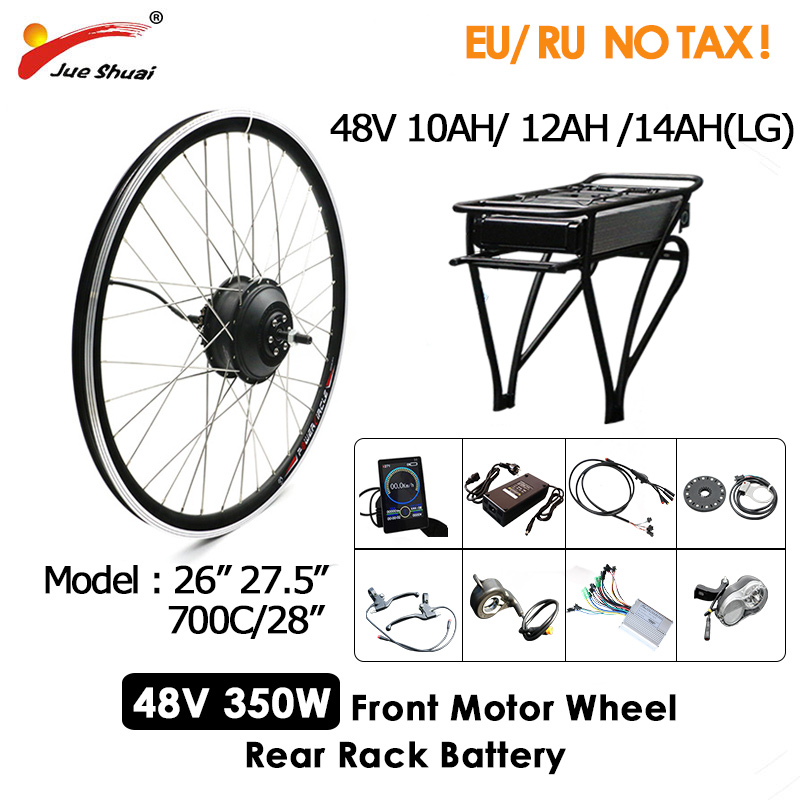 "Ebike Conversion Kit 48V 350W with Battery Motorcycle Electric Bike Kit 26"" 27.5"" 700C Hub Motor Wheel velo electrique adulte"