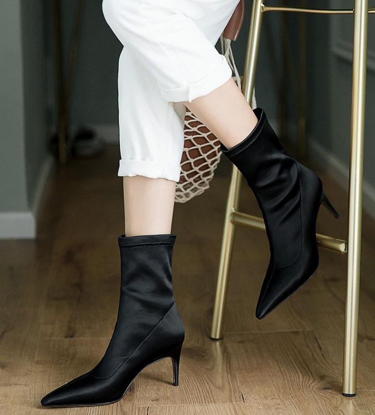 donna Nero per Stivaletti Style 6cm Moda elasticizzati Street tacchi  Stivaletti sottili Donna da Scarpe alti ... b1625f06717