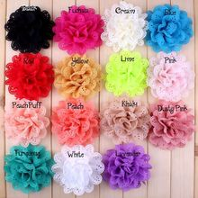 30pcs/lot 4″ Hollow Out Lace Flower Ballerina Twirl Flowers For Headbands Artificial Fabric Flower Girls Women Hair Accessories
