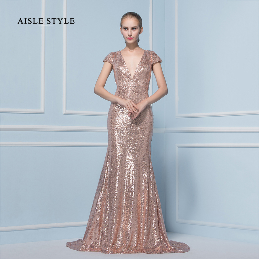 Aisle Style Great Gatsby Rose Gold Sequin Bridesmaid Dresses Short ...