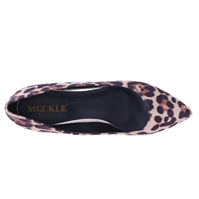 MCCKLE Woman Fashion Wedges Shoes Platform Leopard Comfortable Pointed Toe Slip On Casual Sexy Black Vogue Women's Style Shoes