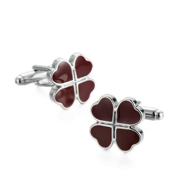 French Cufflinks High Silver Plated Red Enamel Wood Design Cuff Button Mens Wedding Business