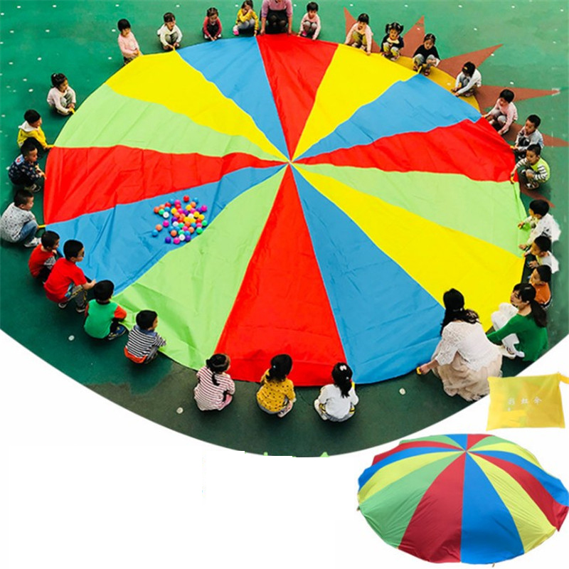 Hot Sale 2m Child Outdoor Rainbow Umbrella Parachute Toy Kindergarten Parent-Child Umbrella Rally Amusement Park Playground