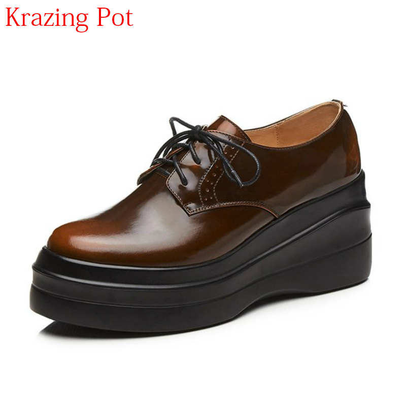 2018 Cow Leather Brand Shoes Super High Heels Solid Platform Retro Women Pumps Lace Up Increased Mixed Colors Casual Shoes L81