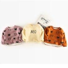 Y01-X672 Children kid's boys girls Clothing baby winter warmer round neck Cat printing plus cashmere sweater 1pcs