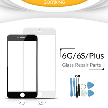 Best quality 5.5 inch Front Glass For iPhone 6 Plus Touch Screen Digitizer Panel LENS Replacement With tools in White And Black free shipping 6 inch touch screen digitizer ad c 601956 fpc for phablet tablet pc black glass panel with repair tools