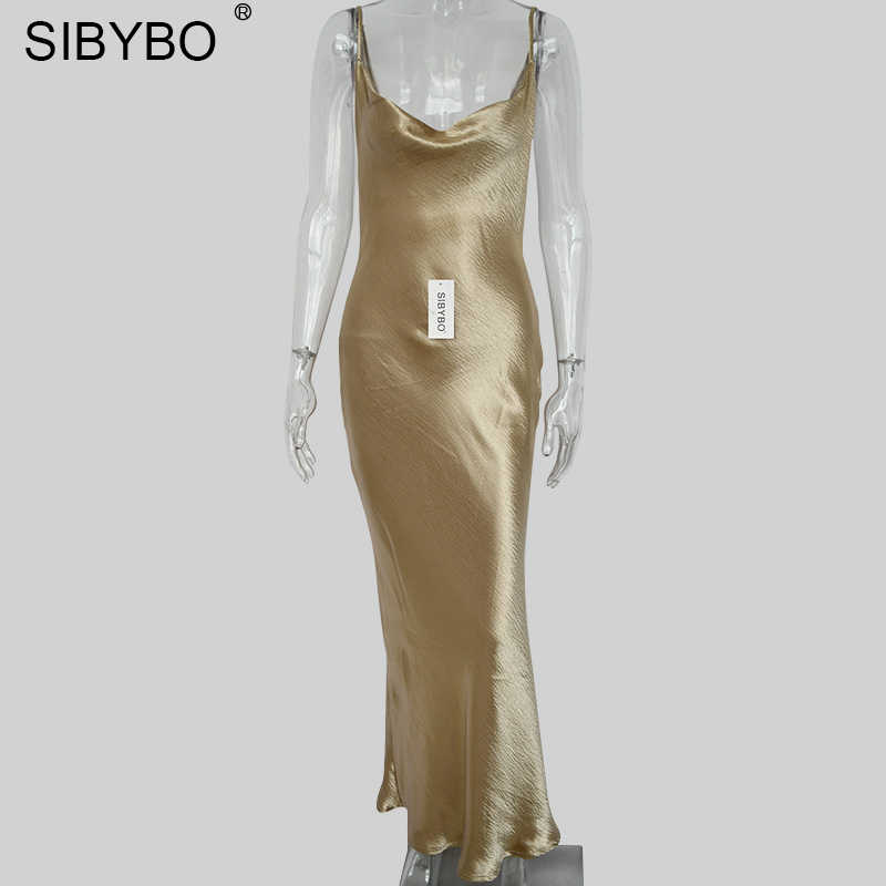 ... Sibybo Sexy Spaghetti Strap Backless Summer Dress Women Satin Lace Up  Trumpet Long Dress Elegant Bodycon ...